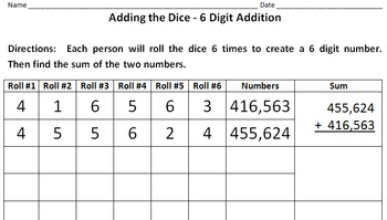 Addition and Subtraction using Dice from Tens up to Millions with Regrouping