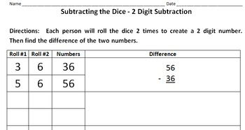 Addition and Subtraction using Dice from Tens up to Millio