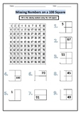 100 Square Activities (3 worksheets)