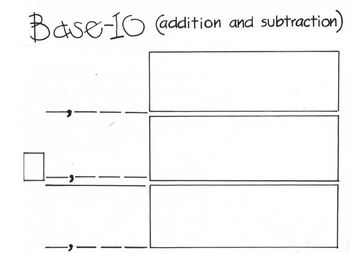 Addition and Subtraction with Base 10 Blocks (work mat)