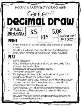 Addition and Subtraction with Decimals: 10 Print and Go Math Centers