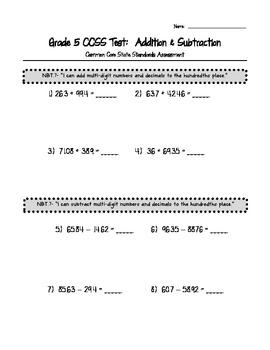 Addition and Subtraction with Decimals CCSS Assessment Pack