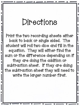 Addition and Subtraction with Dice
