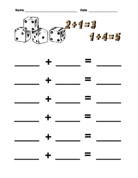 Addition and Subtraction with Dice (Spanish and English sheets)