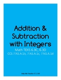 Addition and Subtraction with Integers