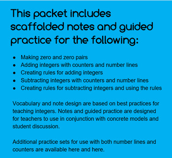 Add and Subtract with Integers: Scaffolded Notes