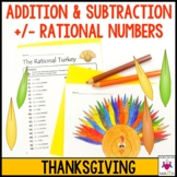 Thanksgiving Math Activity Adding and Subtracting Rational Numbers