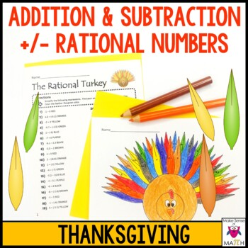 Addition and Subtraction with Integers & Decimals Thanksgi