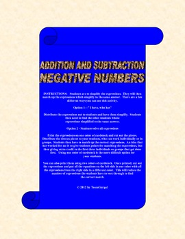 Addition and Subtraction with Negative Numbers Match Game