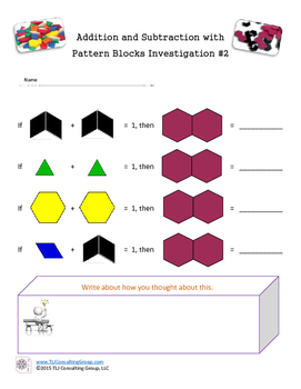 Addition and Subtraction with Pattern Blocks: Investigation 2