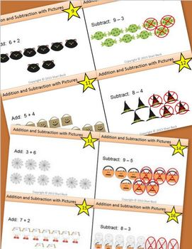 Addition and Subtraction with Pictures Task Cards:  Halloween Theme