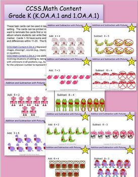 Addition and Subtraction with Pictures Task Cards:  Valentine's Day Theme