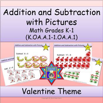 Addition and Subtraction with Pictures Task Cards:  Valent