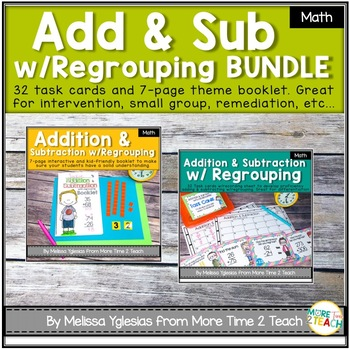 Addition and Subtraction with Regrouping Bundle {Theme Booklet & Task Cards}