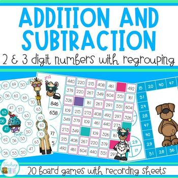 Addition and Subtraction with Regrouping Games Bundle