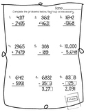 Addition and Subtraction with Regrouping (Pre-Test)