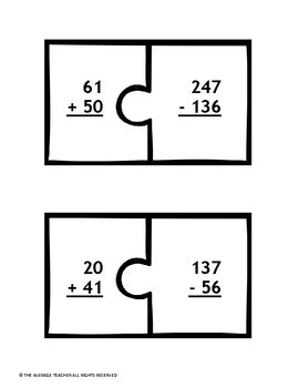 Addition and Subtraction with Regrouping Puzzles