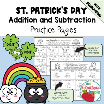 Addition and Subtraction with Regrouping {St. Patrick's Da