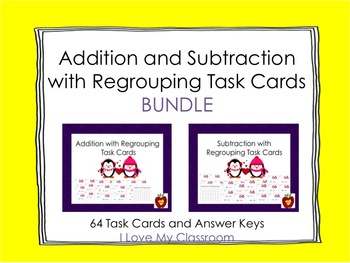 Addition and Subtraction with Regrouping Task Card BUNDLE (Penguin)