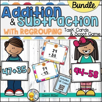 Addition and Subtraction with Regrouping Task Cards Bundle