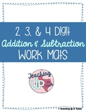 Addition and Subtraction with Regrouping Work Mat Up to 4 Digits