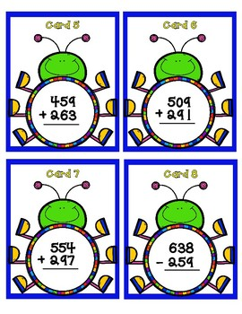 Addition and Subtraction with Regrouping to 900 - Bugs - Scoot Game
