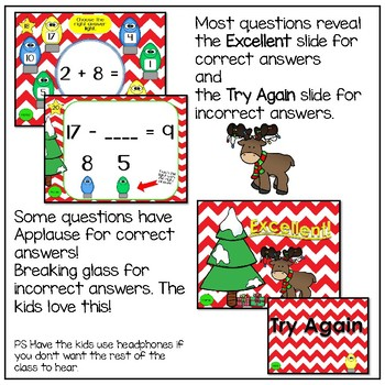 Addition and Subtraction Interactive Powerpoint Game with Unknown Numbers