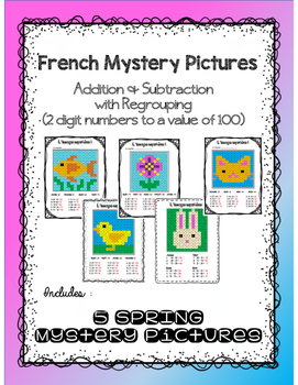 Addition and Subtraction (with regrouping) - French Mystery Pictures - 1-100