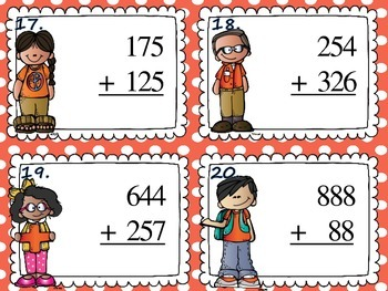Addition and Subtraction with regrouping task cards scoot game