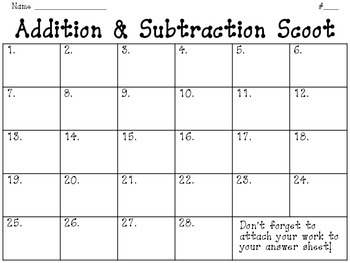 Addition and Subtraction (with rounding) SCOOT Activity