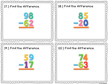 Addition and Subtraction withOUT Regrouping Task Cards