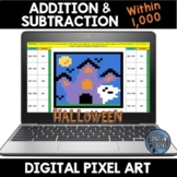 Addition and Subtraction within 1,000 Halloween Digital Pixel Art