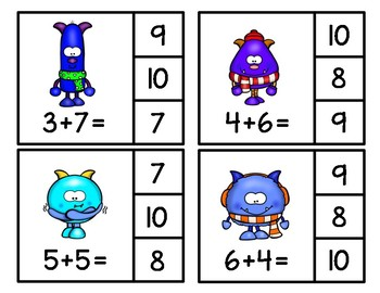 Winter Addition and Subtraction within 10 Clip Cards
