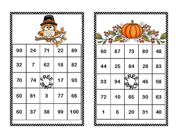 Addition and Subtraction within 100- Bingo-Thanksgiving Theme