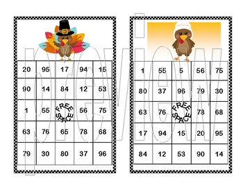 Addition and Subtraction within 100- Bingo-Turkey Time Theme
