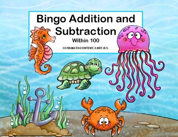 Addition and Subtraction within 100- Bingo-Under the Sea