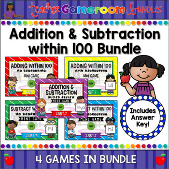 Addition and Subtraction within 100 Mini Powerpoint Game Bundle