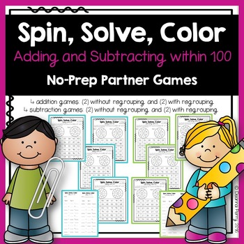 Addition and Subtraction within 100 NO PREP Partner Games