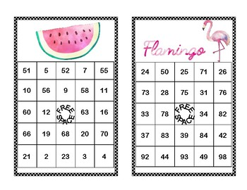 Addition and Subtraction within 100- Second Grade-Bingo-Tropical Fun