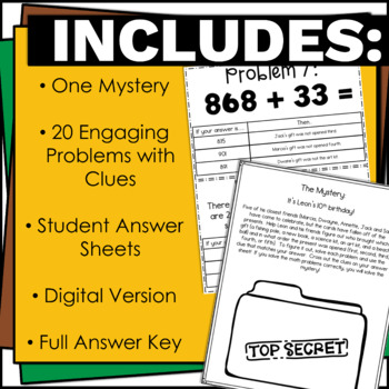 Addition and Subtraction within 1000 Math Mystery Problem Solving w/ Answer Key