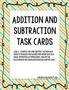 Addition and Subtraction within 1000 Task Cards
