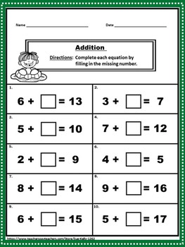 Addition and Subtraction within 20 Printables
