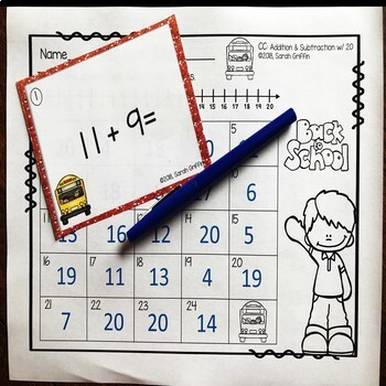 Addition and Subtraction within 20 ~ Back to School Math Task Cards
