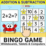Ocean Theme Addition and Subtraction Bingo Game for In-Class & Distance Learning