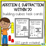 Addition and Subtraction within 20 - Unifix Cubes Task Cards