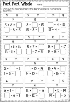 Australian Curriculum Addition & Subtraction Worksheets and Task Cards Year 2