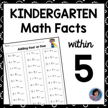 Kindergarten Math Fact Fluency Pack: Addition and Subtraction within Five {RtI}