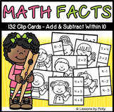 Add and Subtract Within Ten Clip Cards