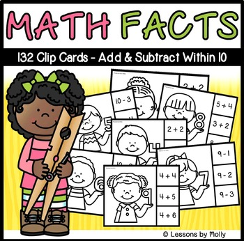 Math Facts Within Ten Clip Cards