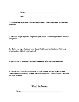 Addition and Subtraction word problems 2nd grade